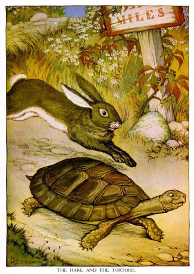 Aesop's Fables: The Hare and the Tortoise Art Print/Poster. Sizes: A4/A3/A2/A1 (001757)
